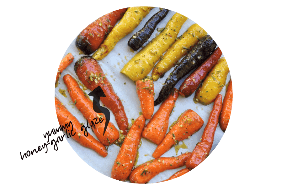 Roasted carrots with Honey-Mustard Glaze overhead view