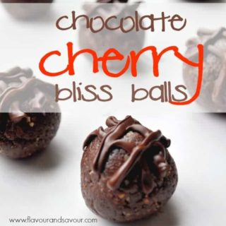 Chocolate-Cherry Bliss Balls, a fast and easy chocolate fix, guilt-free!|www.flavourandsavour.com #energyballs #proteinballs #blissballs #chocolate #driedcherries