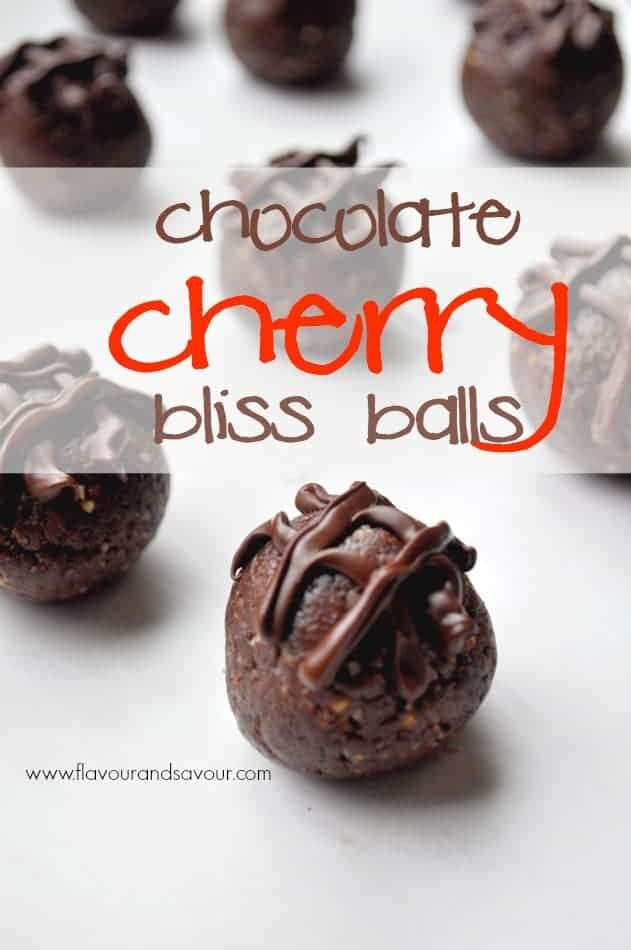 Chocolate-Cherry Bliss Balls, a fast and easy guilt-free chocolate fix |www.flavourandsavour.com #energyballs #proteinballs #blissballs #chocolate #driedcherries