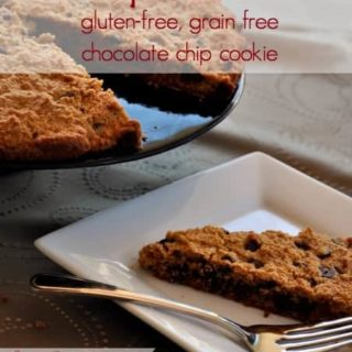 Giant chocolate chip cookie, grain-free, gluten-free and seriously good! |flavourandsavour.com #chocolatechip #gluten-freecookie #grain-freecookie