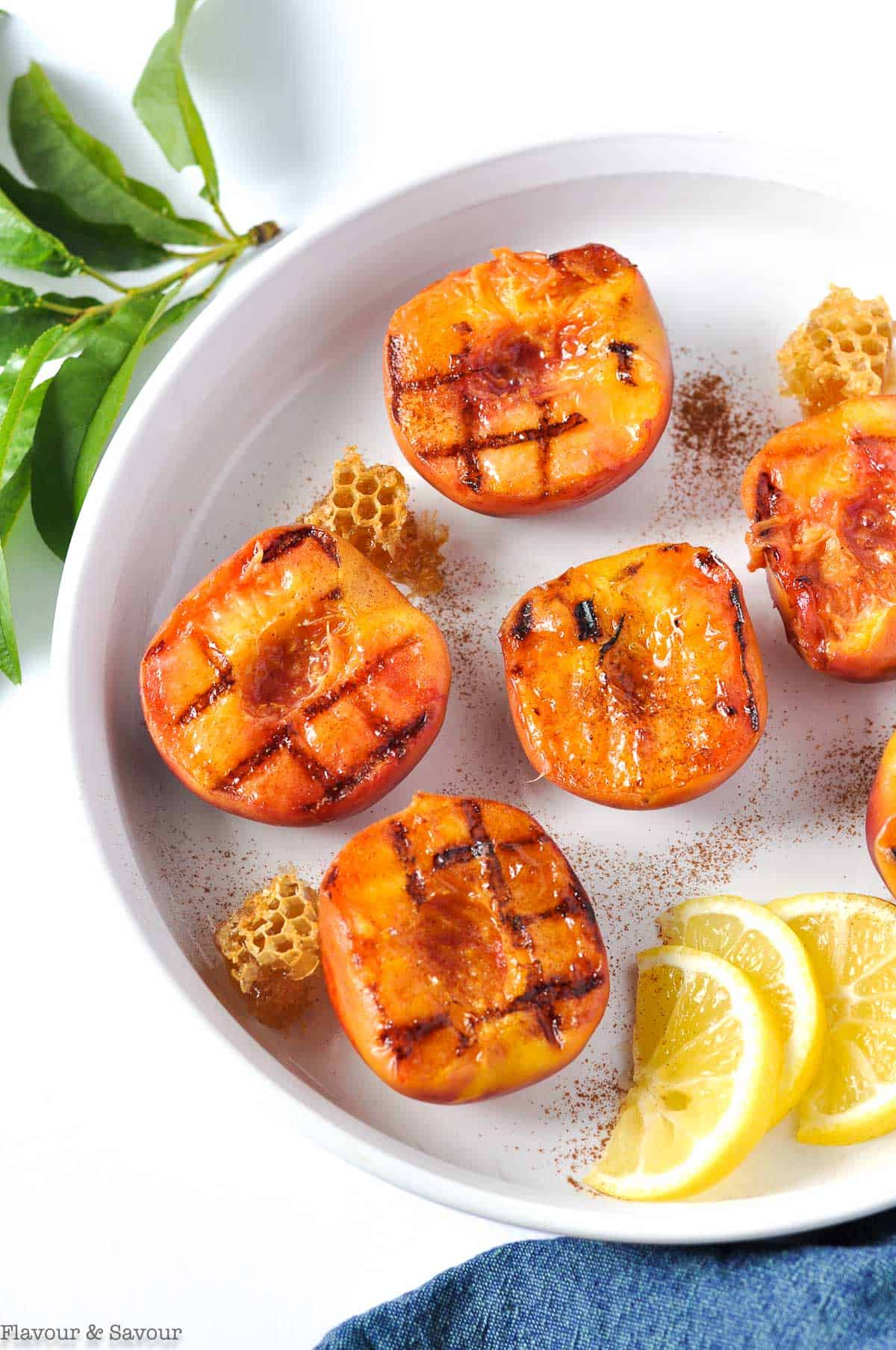 Peach halves with grill marks