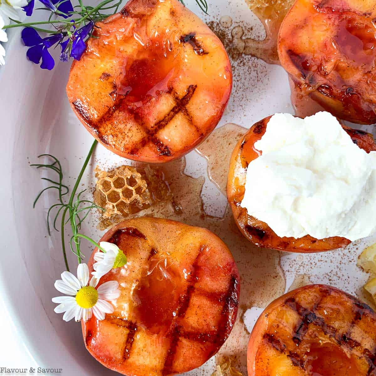 Grilled Peaches with Honey Lemon Drizzle