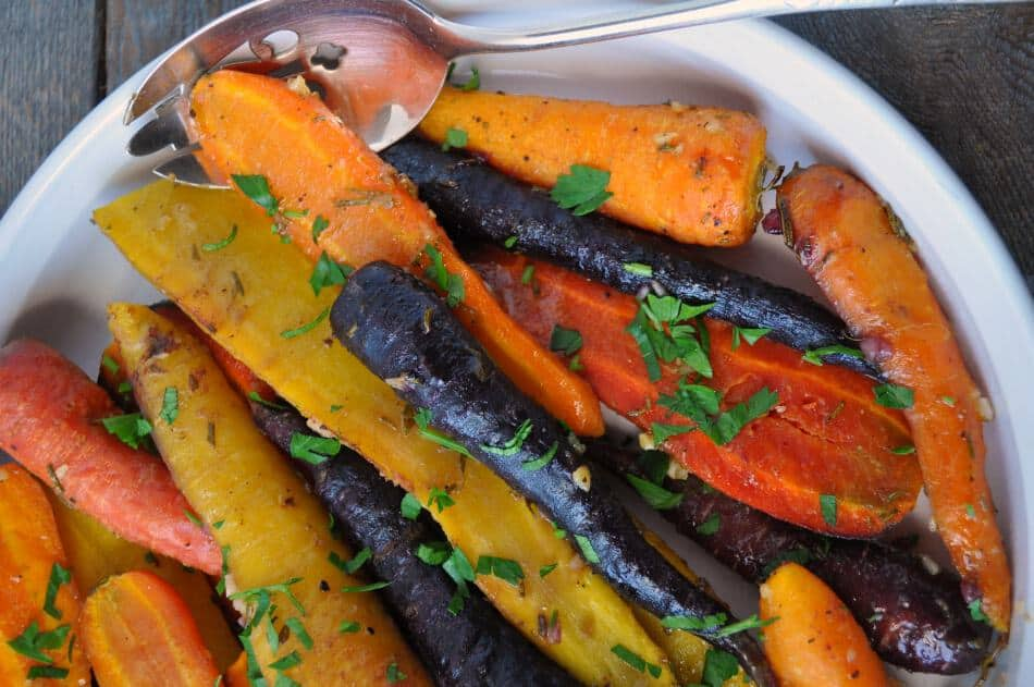 Roasted Carrots with Honey-Mustard Glaze in a white serving dish
