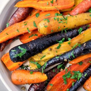 These Roasted Carrots with Honey-Mustard Glaze make an ideal holiday side dish. |www.flavourandsavour.com