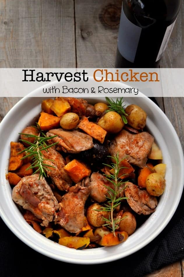 Harvest Chicken with Bacon and Rosemary |www.flavourandsavour.com #butternut #apples #fallvegetables
