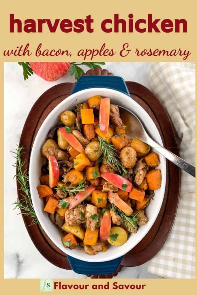 Image and Text Overlay for Harvest Chicken with Bacon Rosemary and Apples