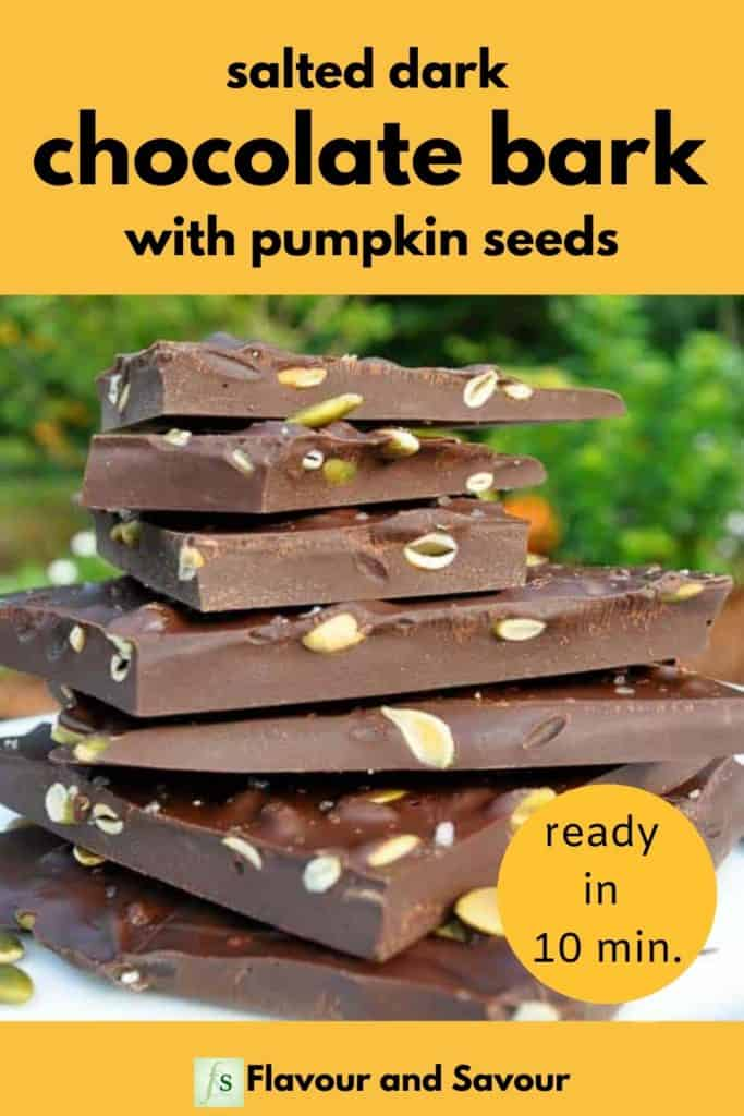 Salted Dark Chocolate Bark with Pumpkin seeds with text overlay