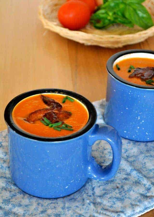 Tomato Soup with Basil and Bacon