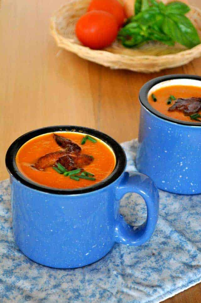 Paleo Tomato Soup with Basil and Bacon. This dairy-free Tomato Soup with Basil and Bacon gets its creaminess from coconut milk. Quick and easy.