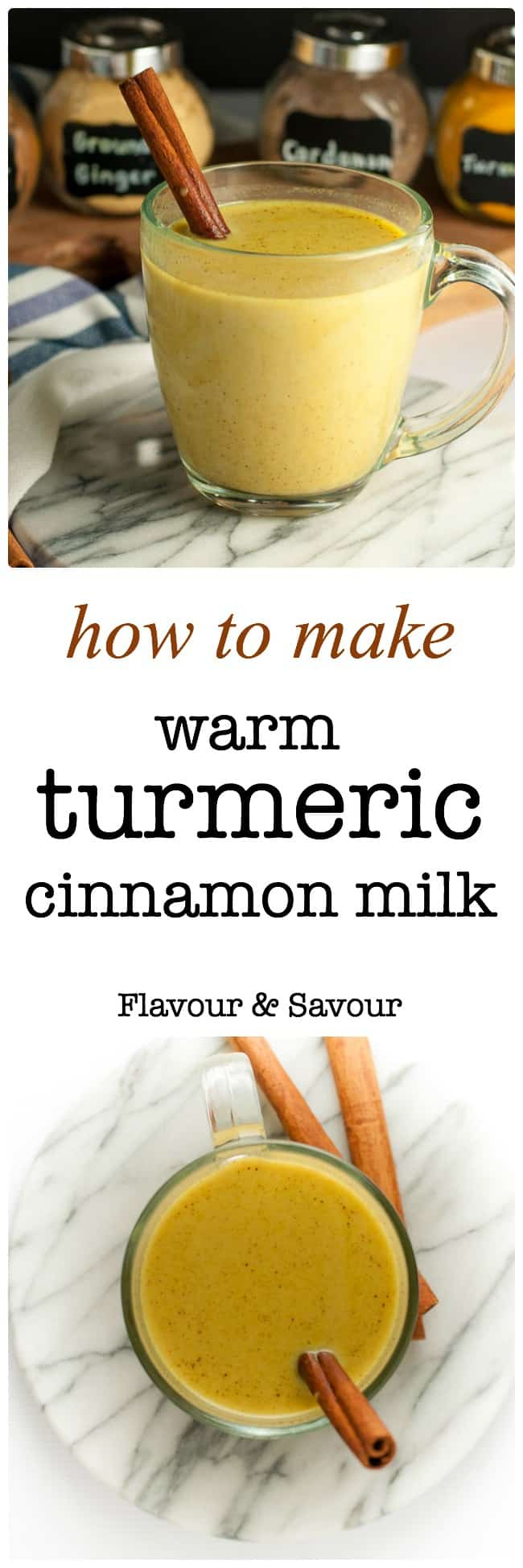 Easy instructions for how to make Warm Turmeric Cinnamon Milk, a healthy anti-inflammatory, anti-oxidant drink that may also help you sleep! |www.flavourandsavour.com