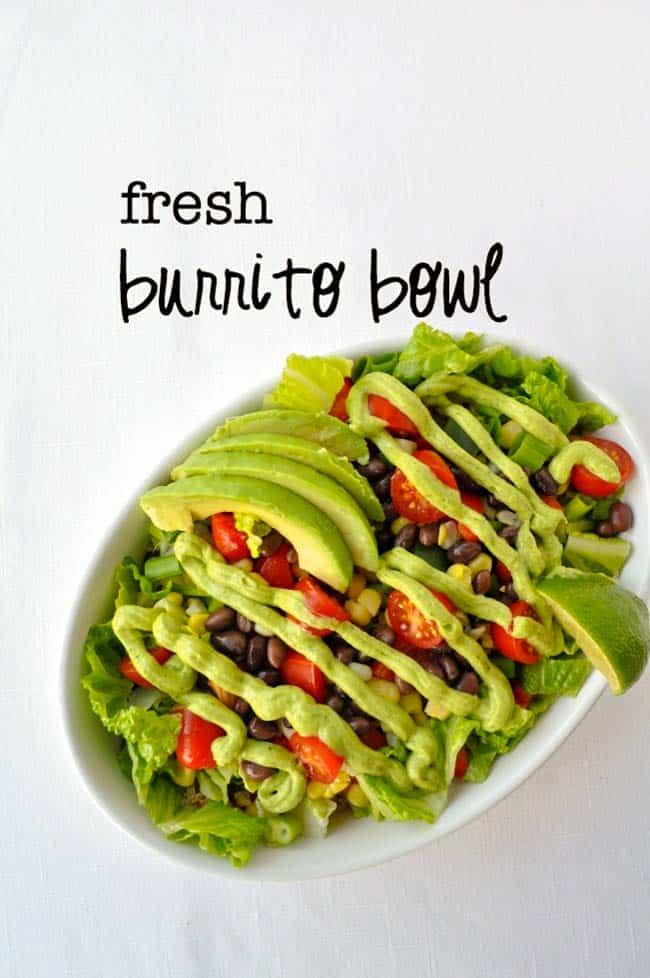 This fresh burrito bowl is a complete meal in a bowl. Fresh crunchy vegetables, quinoa, black beans and optional chicken drizzled with a zesty avocado cream bring all the flavours of the Southwest to your weeknight dinner table. Great for lunches, too. #powerbowl #buddhabowl #nutribowl #burritobowl #avocadocream #quinoa #blackbeans #burritosalad