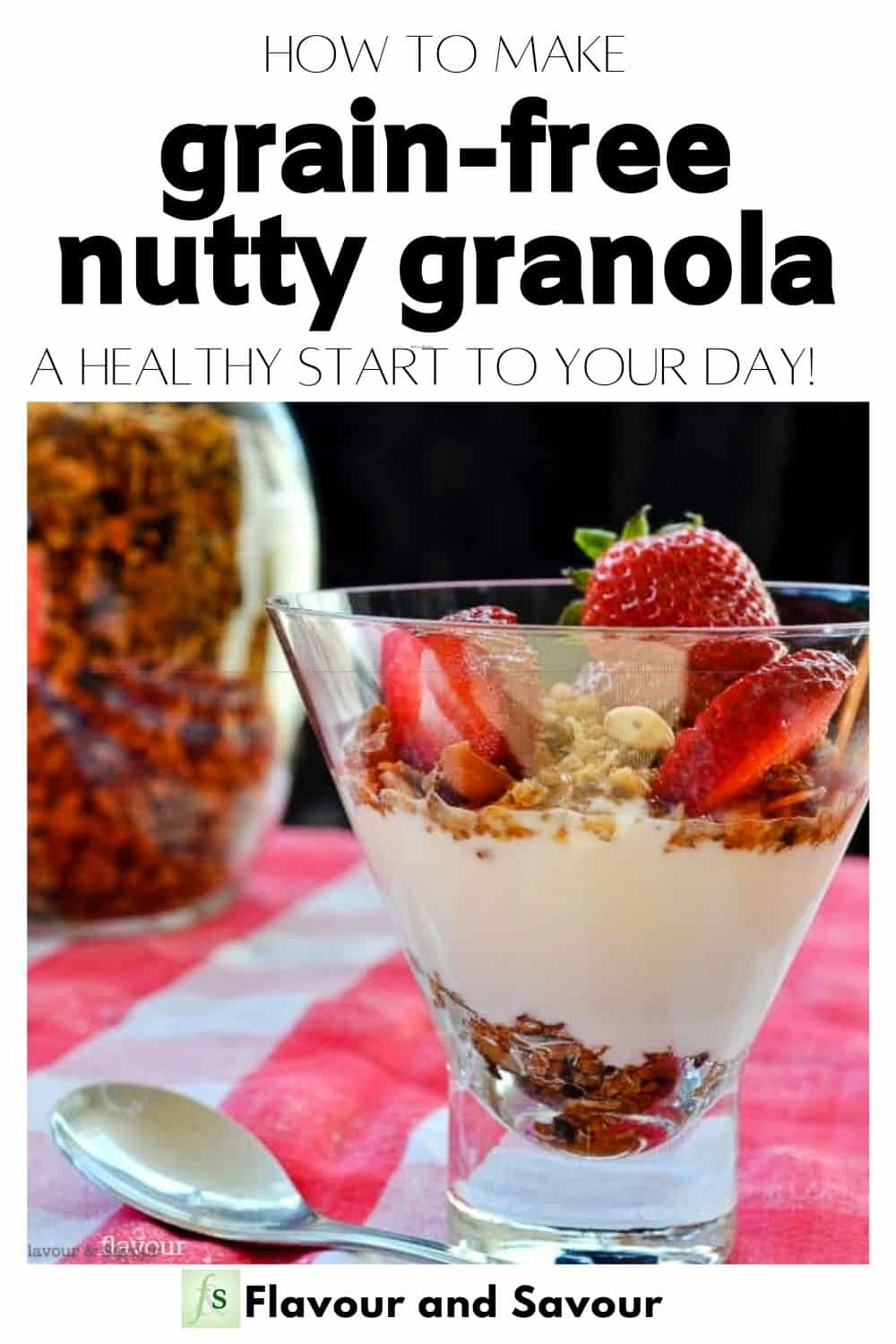 image with text overlay for Grain Free Nutty Granola