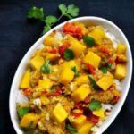 This Mango Chicken has all your favourite Thai flavours in one meal. Perfectly balanced flavours make this an upscale chicken dish. Serve with Thai Coconut Rice. |www.flavourandsavour.com