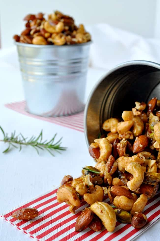 Sweet and Spicy Rosemary Nuts in a small galvanized container