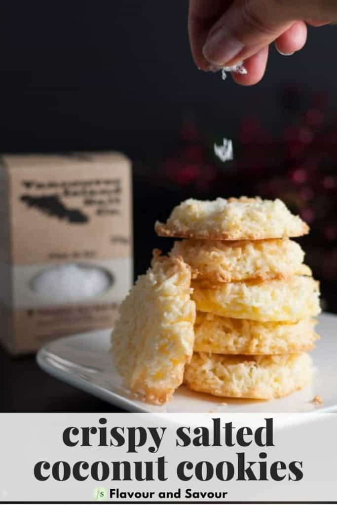 image and text overlay for Crispy Salted Coconut Cookies