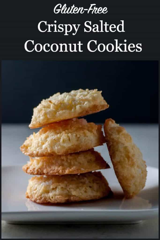 Pinterest pin for Crispy Salted Coconut Cookies