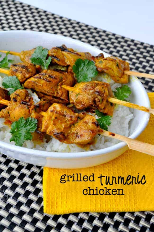 Grilled Turmeric Chicken Kabobs |www.flavourandsavour.com #thai Succulent bites of chicken with the #anti-inflammatory and anti-oxidant benefits of turmeric