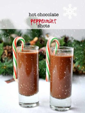 Hot Chocolate Pepperming Shots. Made with raw cacao powder, honey, almond milk and peppermint schnapps! |www.flavourandsavour.com