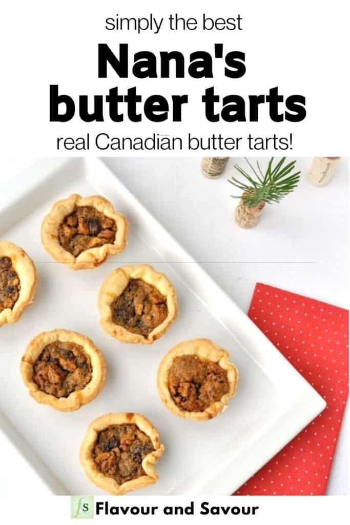 Image with text overlay for Nana's butter tarts