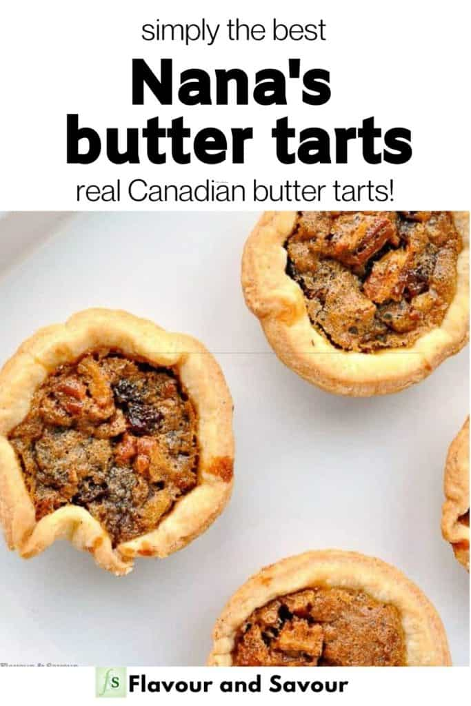 Text overlay and Image for Nana's Butter Tarts