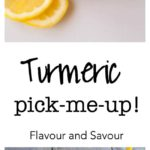 Turmeric Pick-Me-Up. A healthy drink made with coconut water, honey, ginger, lemon and ginger. This turmeric tonic will give you a boost of energy. |www.flavourandsavour.com