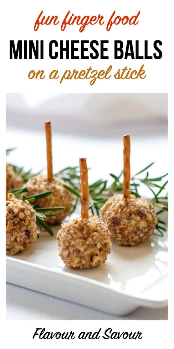 Mini Cheese Balls on a Pretzel Stick, one of 20 easy finger food appetizers on Flavour and Savour