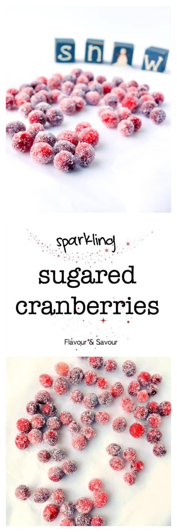Sparkling Sugared Cranberries. Soaked in maple syrup, these showstopper cranberries are great to decorate a cheesecake, top an appy, or add to a cocktail. Easy!