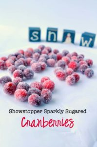 Sparkling Sugared cranberries on a white background