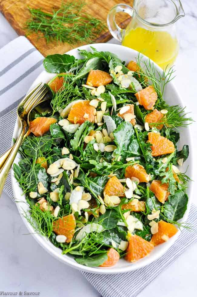 Kale and Cara Cara Orange Salad in an oval bowl