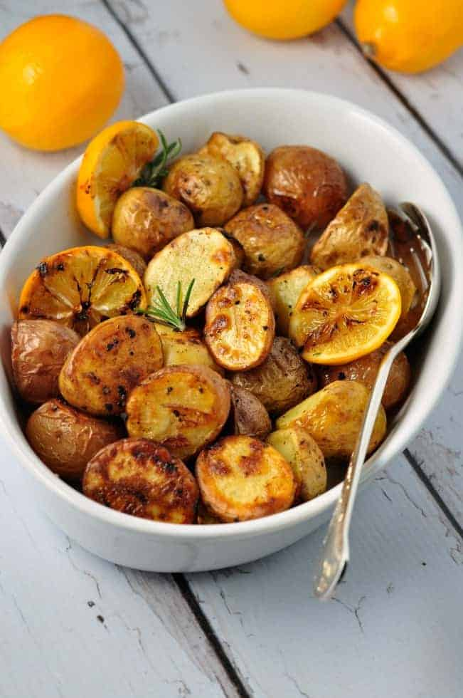 Crispy Meyer Lemon Potatoes, and easiest gourmet potatoes you'll ever make. Add to your list of holiday side dishes! |www.flavourandsavour.com