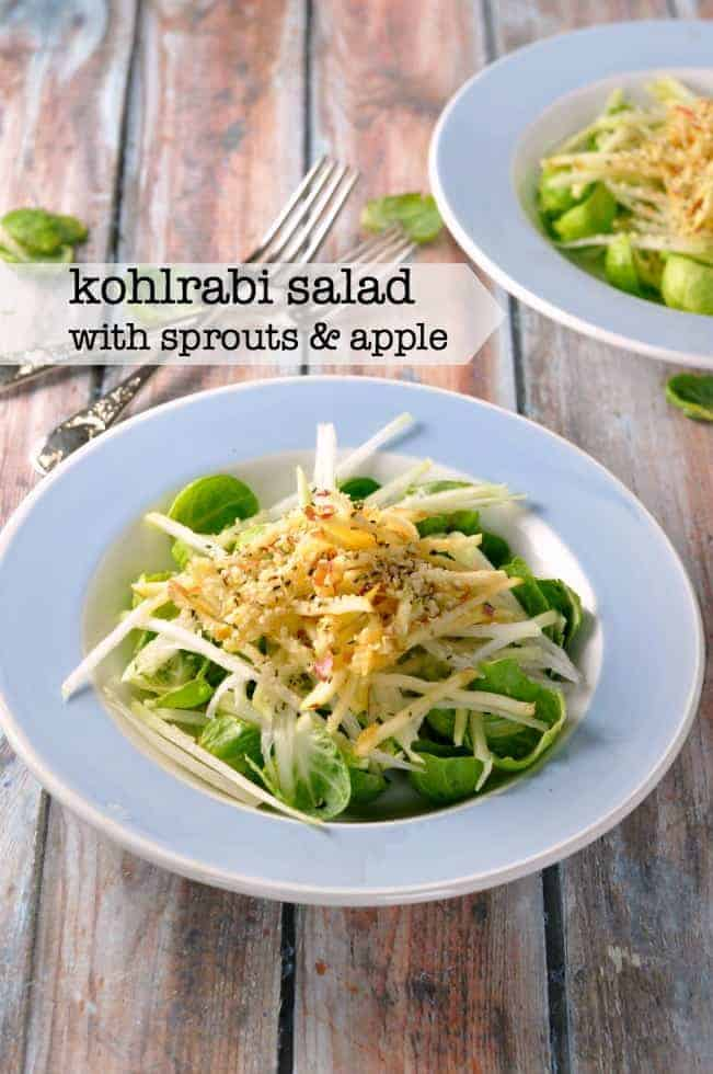 Kohlrabi Winter Salad with Sprouts and Apple. A healthy, crunchy salad featuring crisp Brussels sprout leaves, kohlrabi and sweet apple. |www.flavourandsavour.com A crispy, crunchy winter salad.