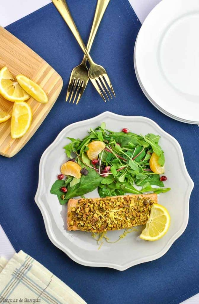 Pistachio-Crusted Salmon with salad