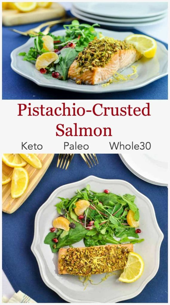 Pinterest pin 1 for Pistachio Crusted Salmon