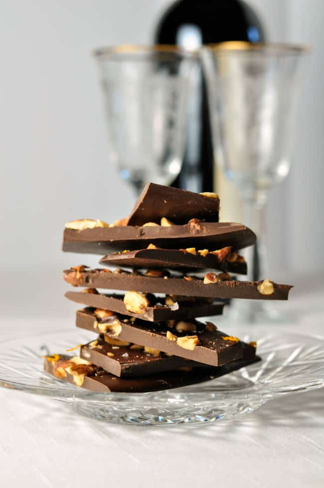 Salted Dark Chocolate-Orange Almond Bark.