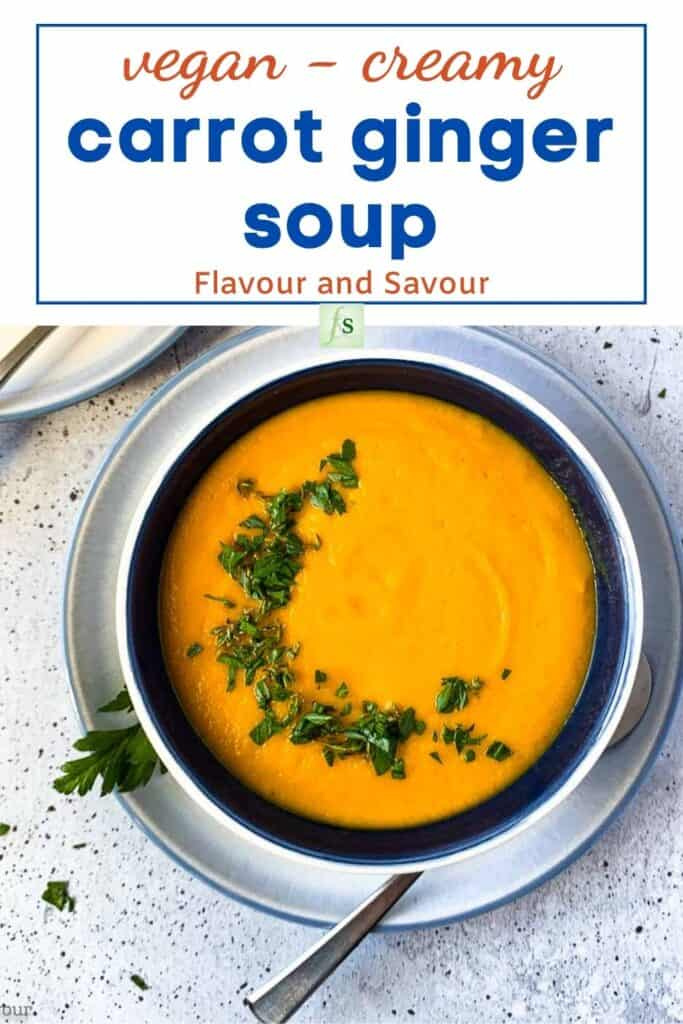 image with text for vegan carrot ginger soup