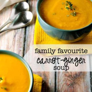 """Our Family's Favourite carrot-ginger soup . First spoonful is always followed by """"Mmmmm."""" 