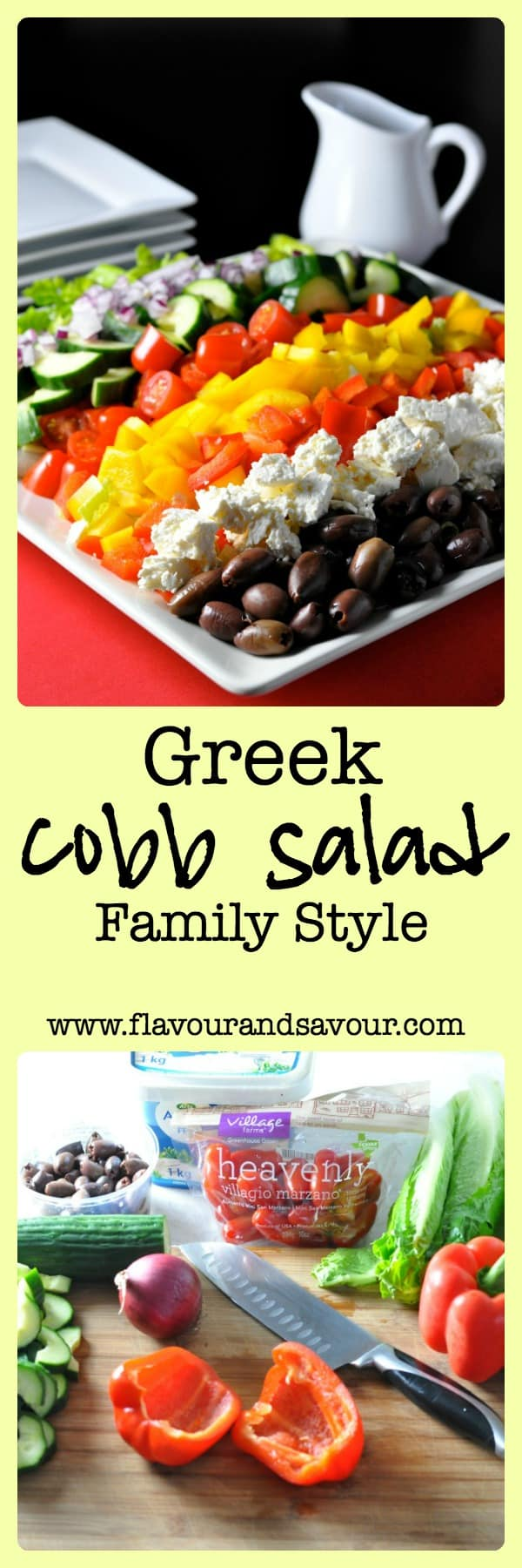 Greek Cobb Salad--Family Style. Provide choices and let everyone make their own. |www.flavourandsavour.com