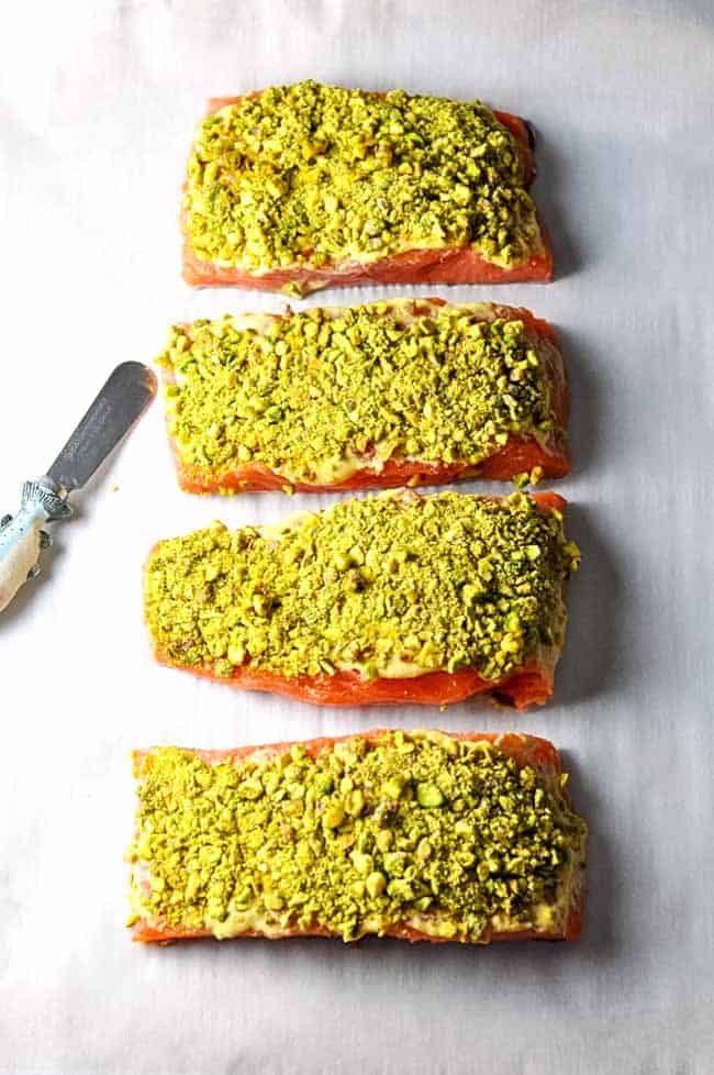 Paleo Pistachio Crusted Salmon ready to bake.
