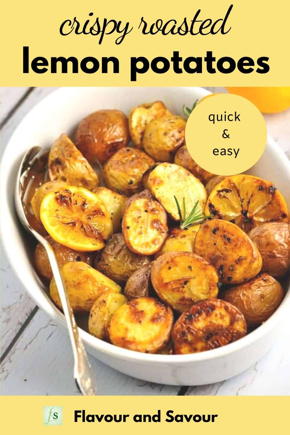 Graphic for Crispy Lemon Oven Roasted Potatoes with text overlay