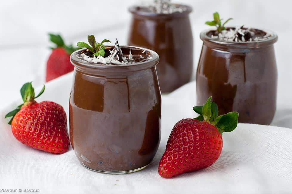 Dairy-Free Vegan Chocolate Mousse in small glass jars with strawberries