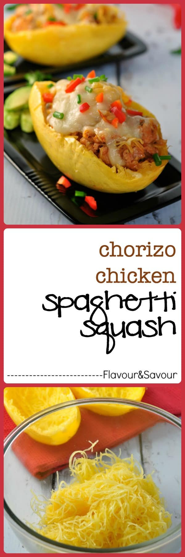 Chorizo Chicken Spaghetti Squash. Spicy chorizo chicken sausage and zesty salsa add lots of flavour to nutritious spaghetti squash. flavourandsavour.com