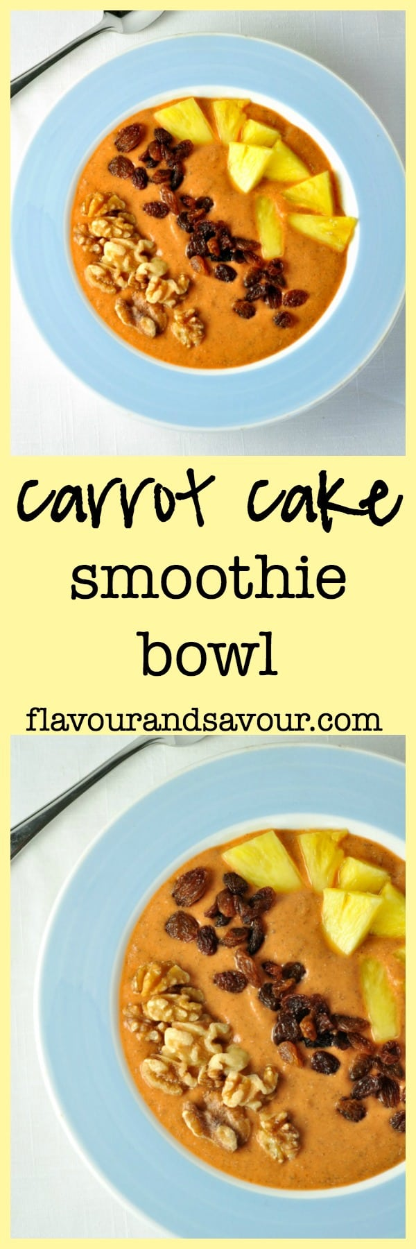 Healthy Paleo Carrot Cake Smoothie Bowl. Who says you can't have carrot cake for breakfast? |www.flavourandsavour.com