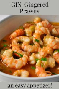 Gin-gingered prawns in a bowl