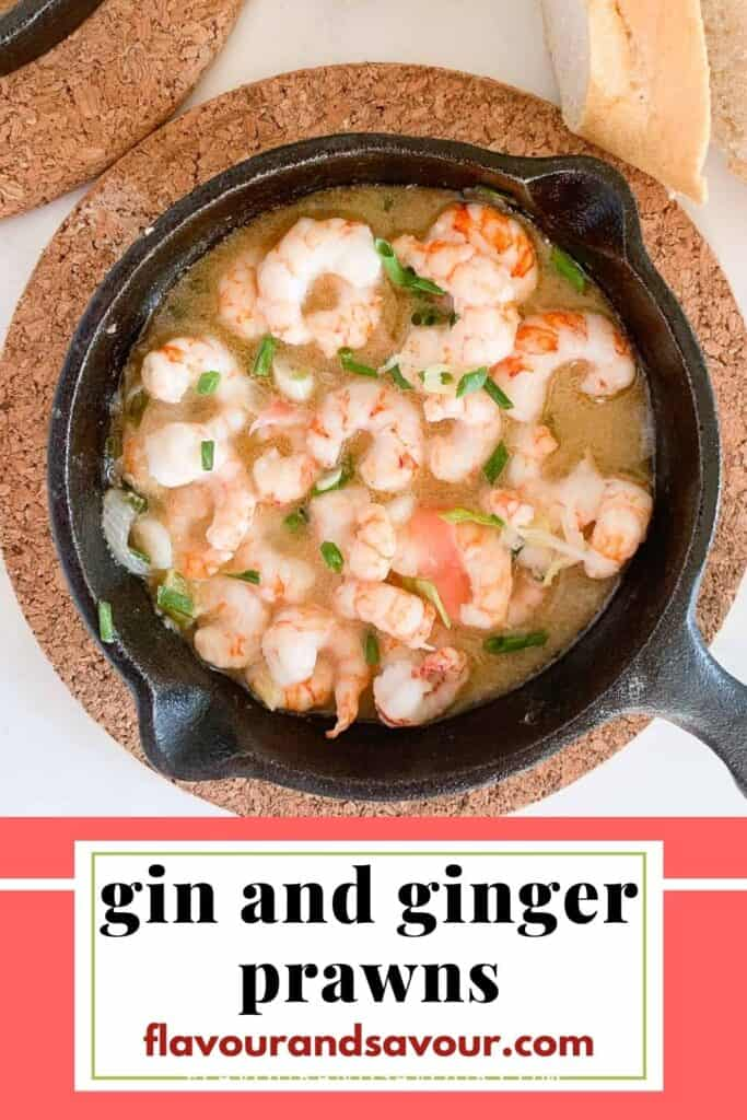 Image with text for gin and ginger prawns