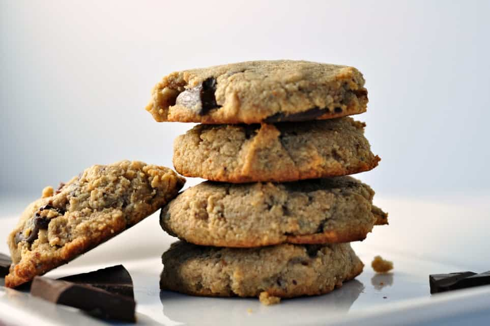 Paleo Chocolate Chip Cookies stacked