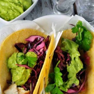 Halibut Tacos with Tequila Lime Marinade and Red Cabbage Slaw www.flavourandsavour.com