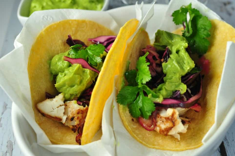 Tequila-Lime Halibut Tacos Recipe — Dishmaps