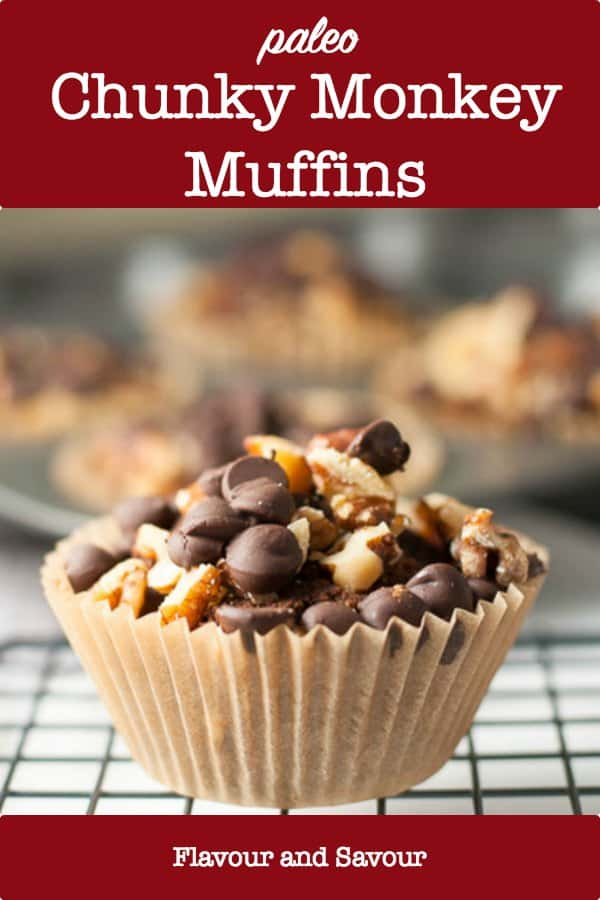 Paleo Chunky Monkey Muffins on a cooling rack with title