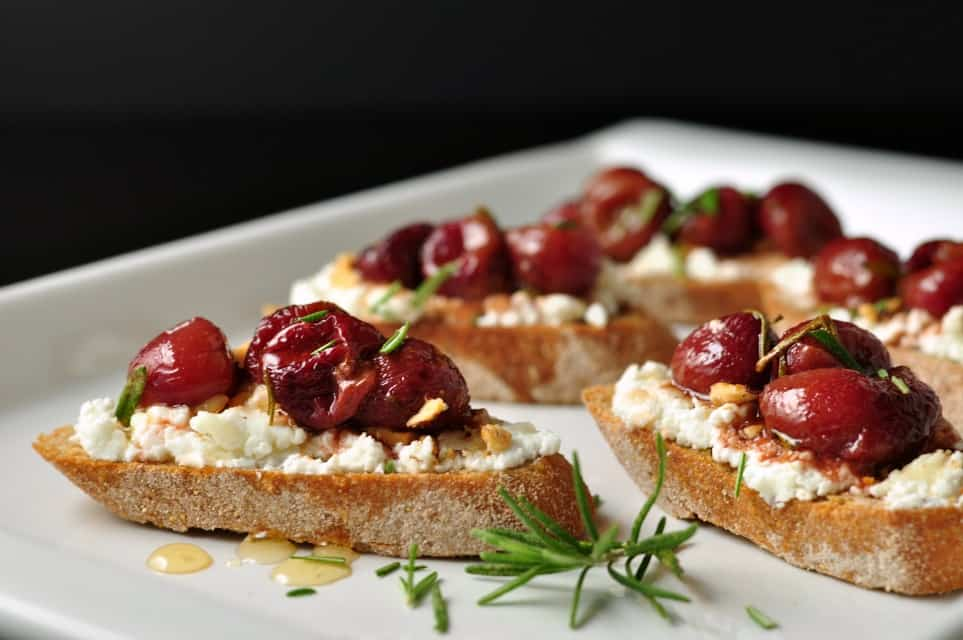 Roasted Grape and Goat Cheese Crostini - Flavour and Savour