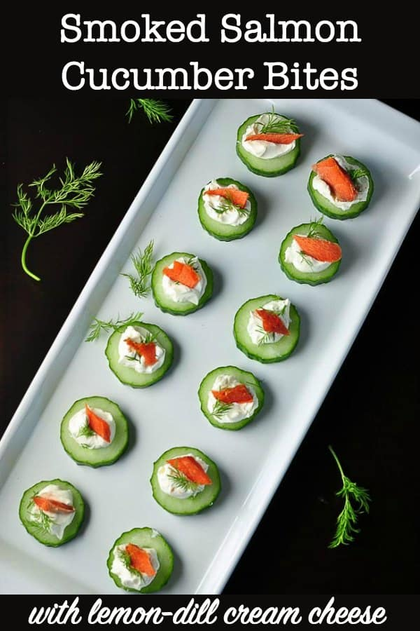 Smoked Salmon Cucumber Bites with lemon dill cream cheese